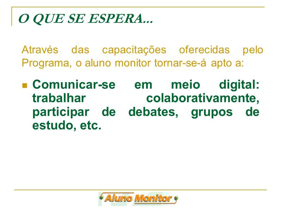 Comunicar-se em meio digital: trabalhar colaborativamente, participar de debates, grupos de estudo, etc. Através das capacitações oferecidas pelo Prog