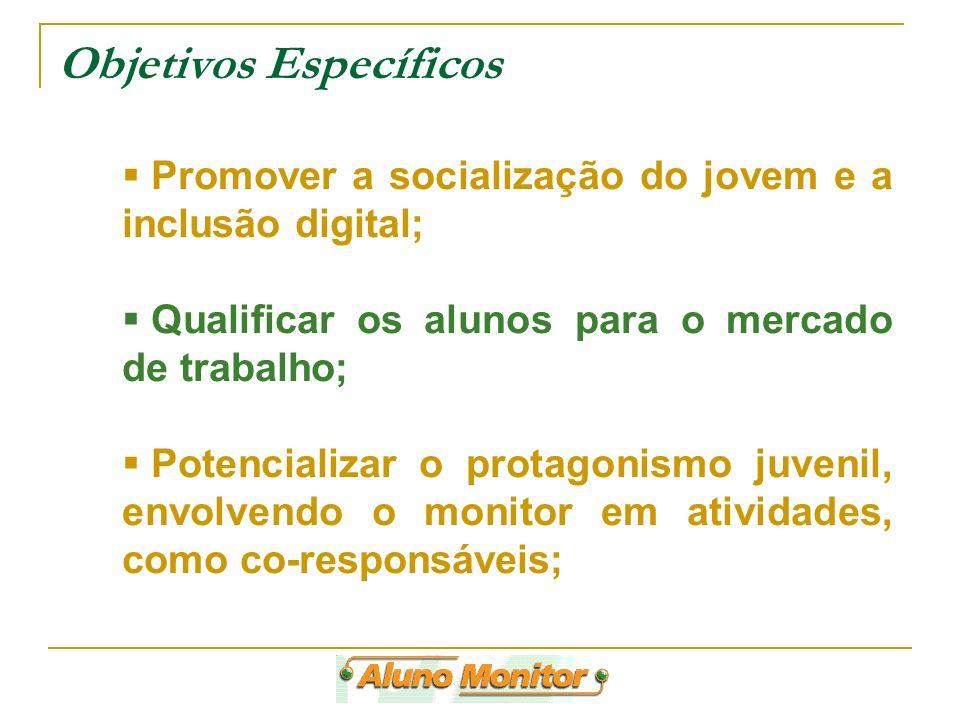 Objetivos Específicos Promover a socialização do jovem e a inclusão digital; Qualificar os alunos para o mercado de trabalho; Potencializar o protagon
