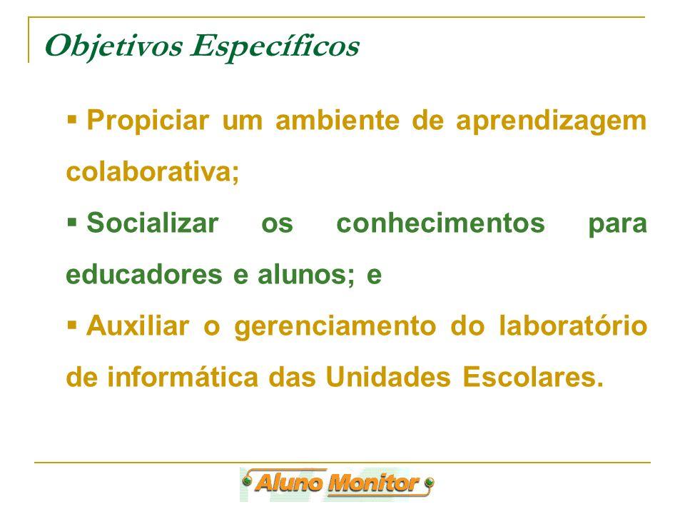 Objetivos Específicos Propiciar um ambiente de aprendizagem colaborativa; Socializar os conhecimentos para educadores e alunos; e Auxiliar o gerenciam