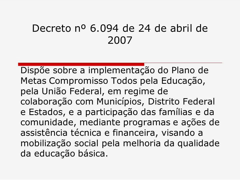 Decreto nº 6.094 de 24 de abril de 2007 Dispõe sobre a implementação do Plano de Metas Compromisso Todos pela Educação, pela União Federal, em regime