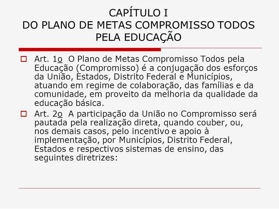 CAPÍTULO I DO PLANO DE METAS COMPROMISSO TODOS PELA EDUCAÇÃO Art. 1o O Plano de Metas Compromisso Todos pela Educação (Compromisso) é a conjugação dos