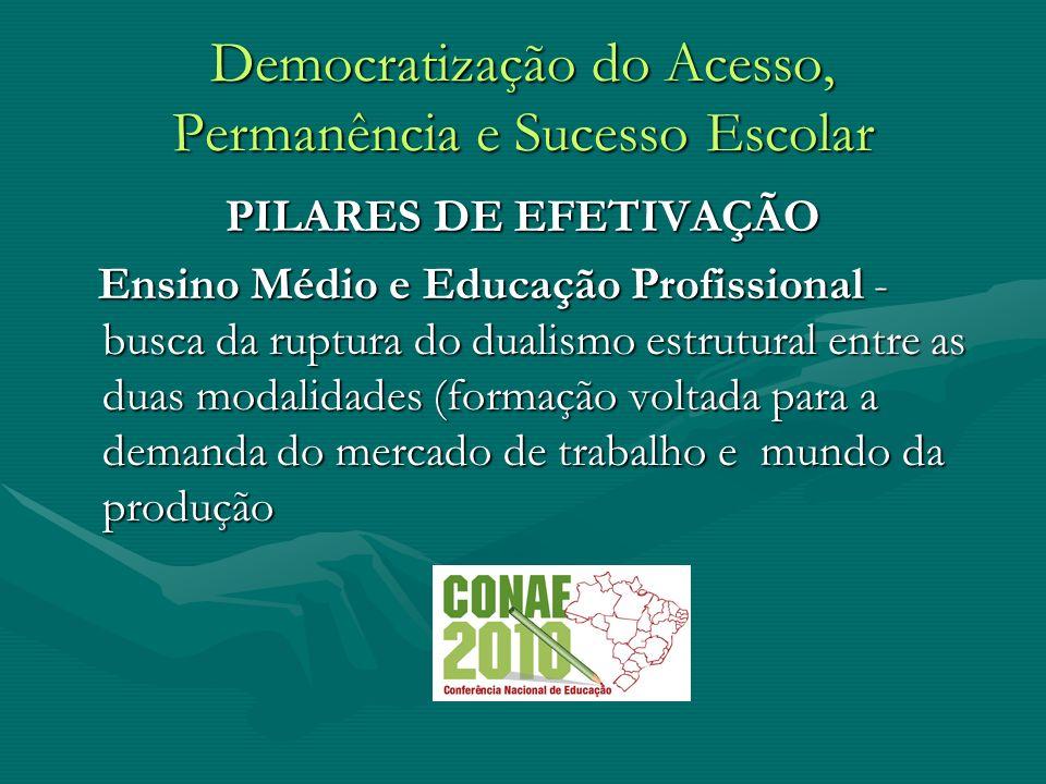 Democratização do Acesso, Permanência e Sucesso Escolar PILARES DE EFETIVAÇÃO Ensino Médio e Educação Profissional - busca da ruptura do dualismo estr