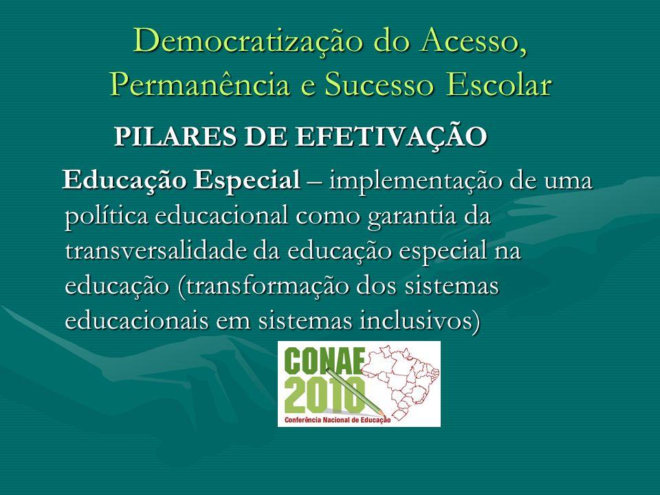 Democratização do Acesso, Permanência e Sucesso Escolar PILARES DE EFETIVAÇÃO PILARES DE EFETIVAÇÃO Educação Especial – implementação de uma política