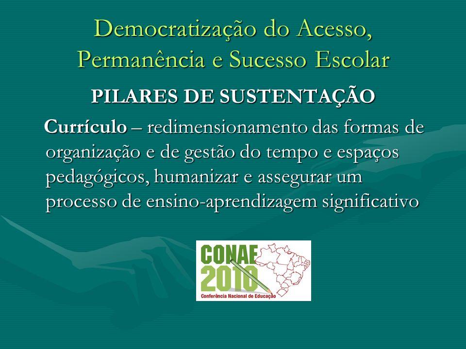 Democratização do Acesso, Permanência e Sucesso Escolar PILARES DE SUSTENTAÇÃO Currículo – redimensionamento das formas de organização e de gestão do