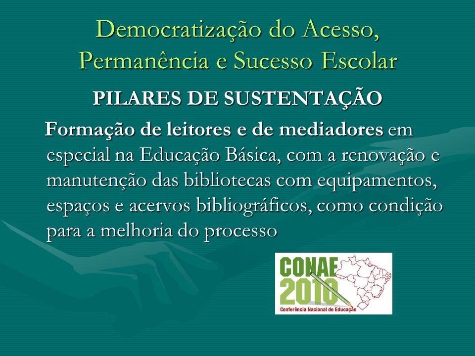 Democratização do Acesso, Permanência e Sucesso Escolar PILARES DE SUSTENTAÇÃO Formação de leitores e de mediadores em especial na Educação Básica, co