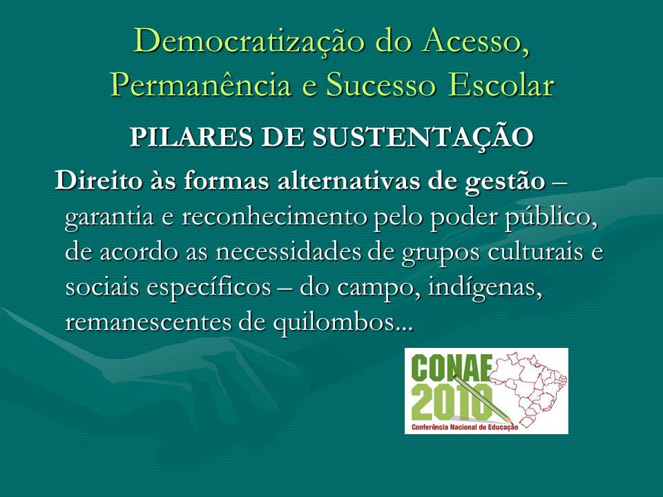 Democratização do Acesso, Permanência e Sucesso Escolar PILARES DE SUSTENTAÇÃO Direito às formas alternativas de gestão – garantia e reconhecimento pe