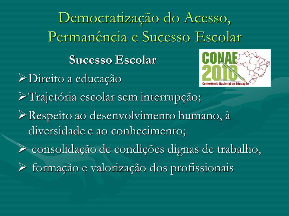 Democratização do Acesso, Permanência e Sucesso Escolar Sucesso Escolar Sucesso Escolar Direito a educação Direito a educação Trajetória escolar sem i