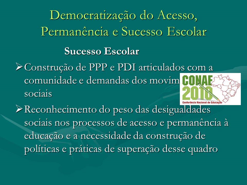 Democratização do Acesso, Permanência e Sucesso Escolar Sucesso Escolar Sucesso Escolar Construção de PPP e PDI articulados com a comunidade e demanda
