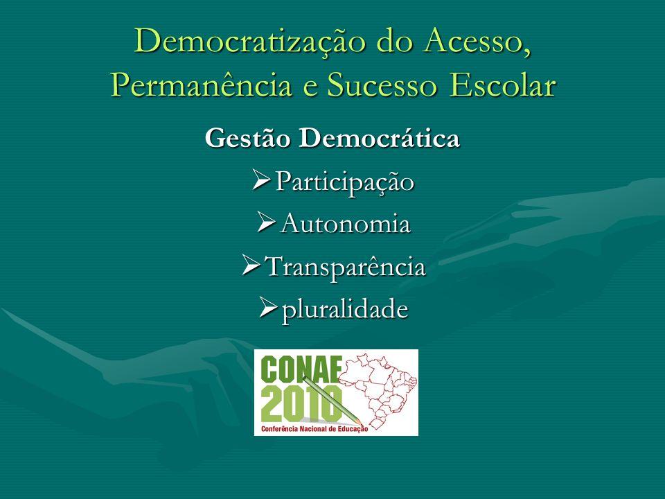 Democratização do Acesso, Permanência e Sucesso Escolar Gestão Democrática Participação Participação Autonomia Autonomia Transparência Transparência p