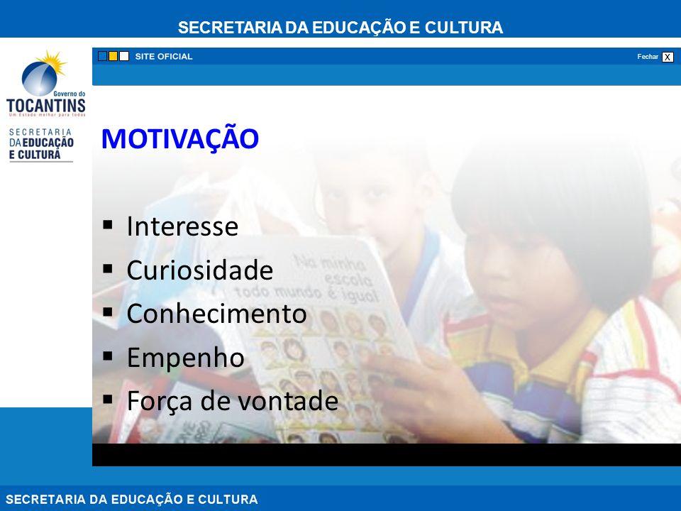 SECRETARIA DA EDUCAÇÃO E CULTURA x Fechar MOTIVAÇÃO Interesse Curiosidade Conhecimento Empenho Força de vontade