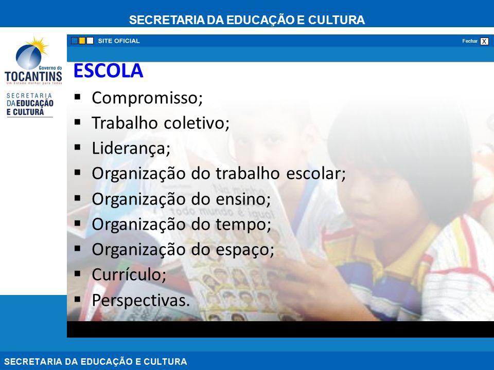 SECRETARIA DA EDUCAÇÃO E CULTURA x Fechar ESCOLA Compromisso; Trabalho coletivo; Liderança; Organização do trabalho escolar; Organização do ensino; Organização do tempo; Organização do espaço; Currículo; Perspectivas.