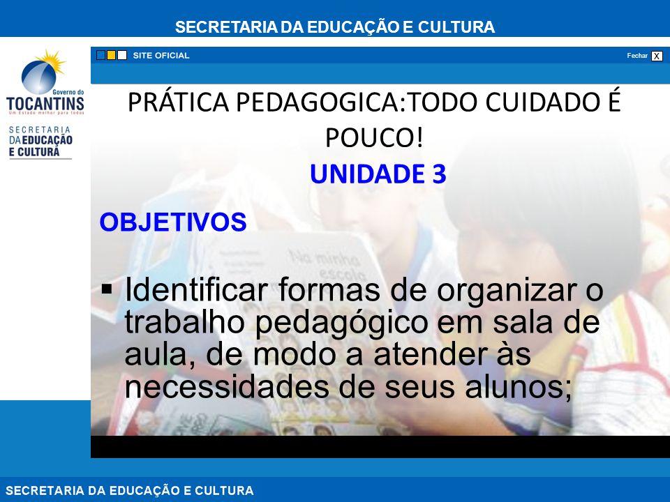 SECRETARIA DA EDUCAÇÃO E CULTURA x Fechar PRÁTICA PEDAGOGICA:TODO CUIDADO É POUCO.