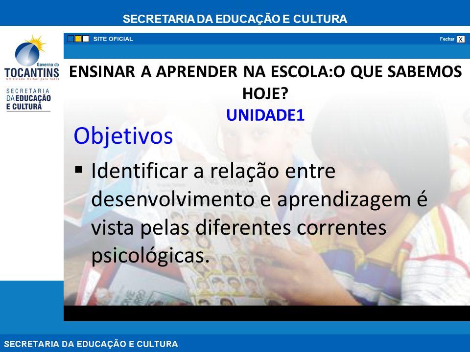 SECRETARIA DA EDUCAÇÃO E CULTURA x Fechar ENSINAR A APRENDER NA ESCOLA:O QUE SABEMOS HOJE.