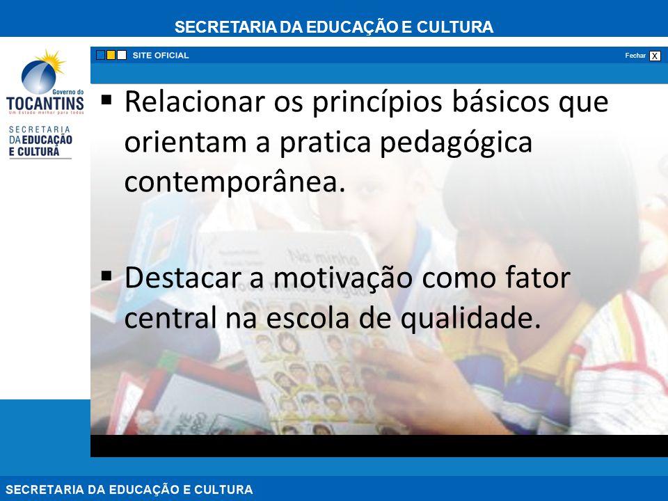 SECRETARIA DA EDUCAÇÃO E CULTURA x Fechar Relacionar os princípios básicos que orientam a pratica pedagógica contemporânea.