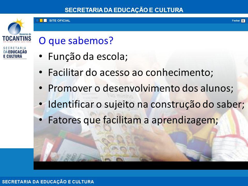 SECRETARIA DA EDUCAÇÃO E CULTURA x Fechar Relacionar o trabalho escolar com o sucesso do processo de ensino e aprendizagem.