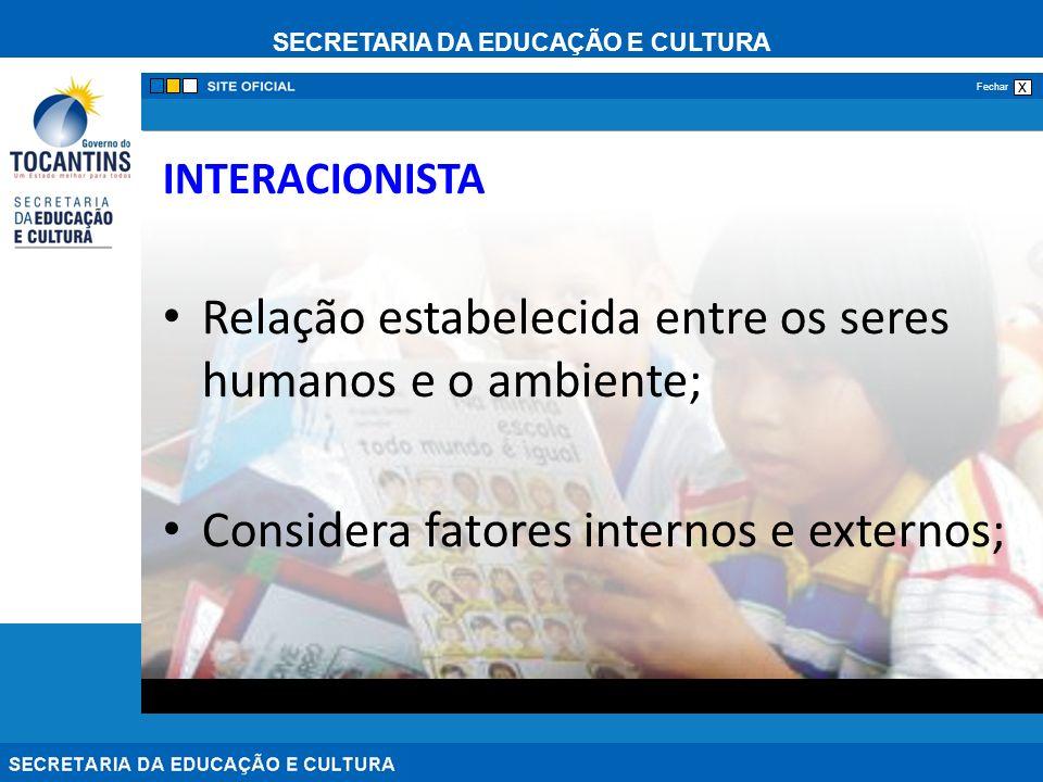 SECRETARIA DA EDUCAÇÃO E CULTURA x Fechar INTERACIONISTA Relação estabelecida entre os seres humanos e o ambiente; Considera fatores internos e externos;
