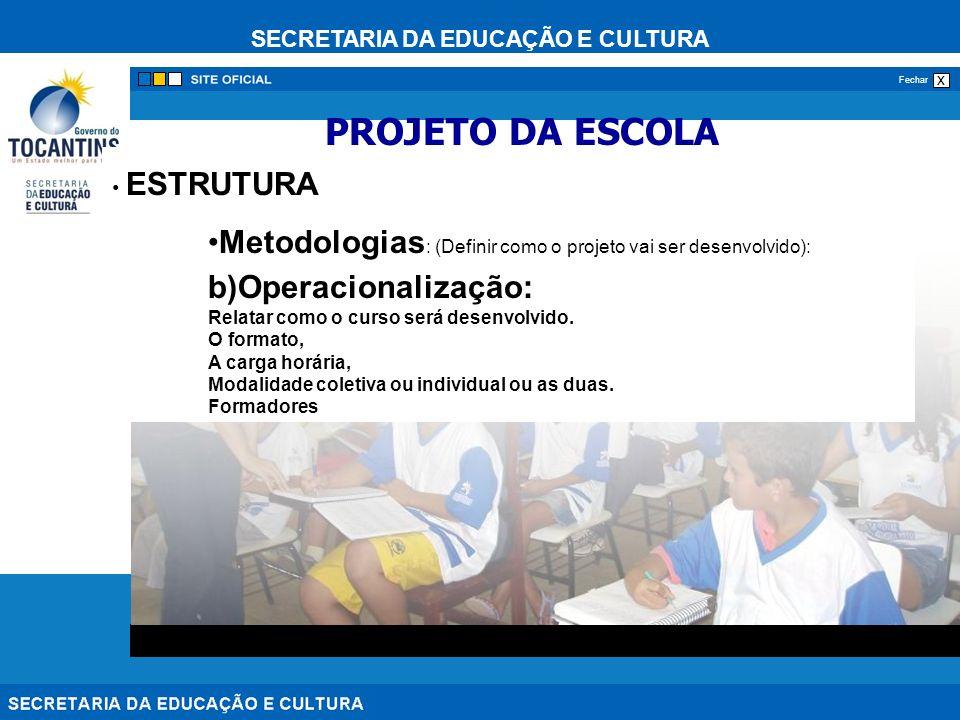 SECRETARIA DA EDUCAÇÃO E CULTURA x Fechar ESTRUTURA Metodologias : (Definir como o projeto vai ser desenvolvido): b)Operacionalização: Relatar como o curso será desenvolvido.