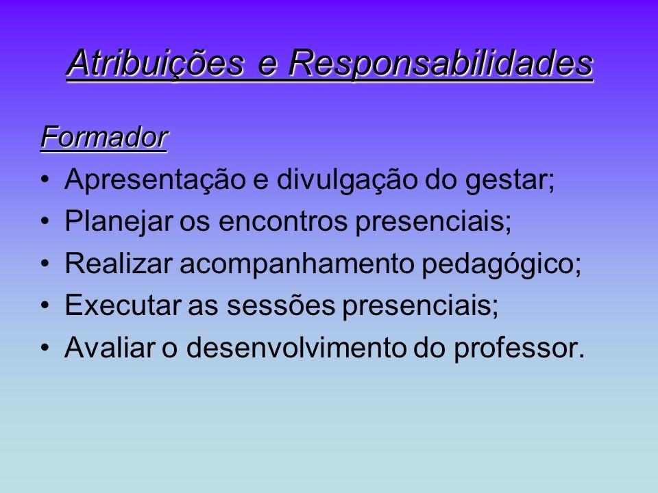 Atribuições e Responsabilidades Formador Apresentação e divulgação do gestar; Planejar os encontros presenciais; Realizar acompanhamento pedagógico; Executar as sessões presenciais; Avaliar o desenvolvimento do professor.