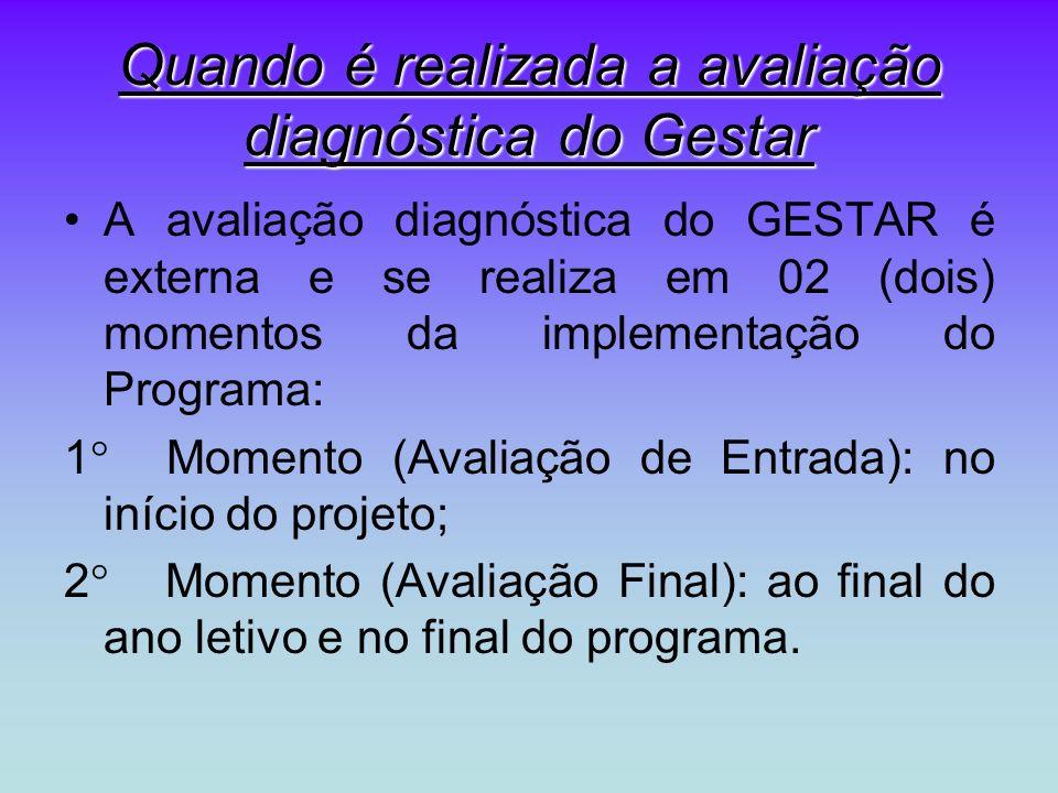 Quando é realizada a avaliação diagnóstica do Gestar A avaliação diagnóstica do GESTAR é externa e se realiza em 02 (dois) momentos da implementação do Programa: 1 Momento (Avaliação de Entrada): no início do projeto; 2 Momento (Avaliação Final): ao final do ano letivo e no final do programa.