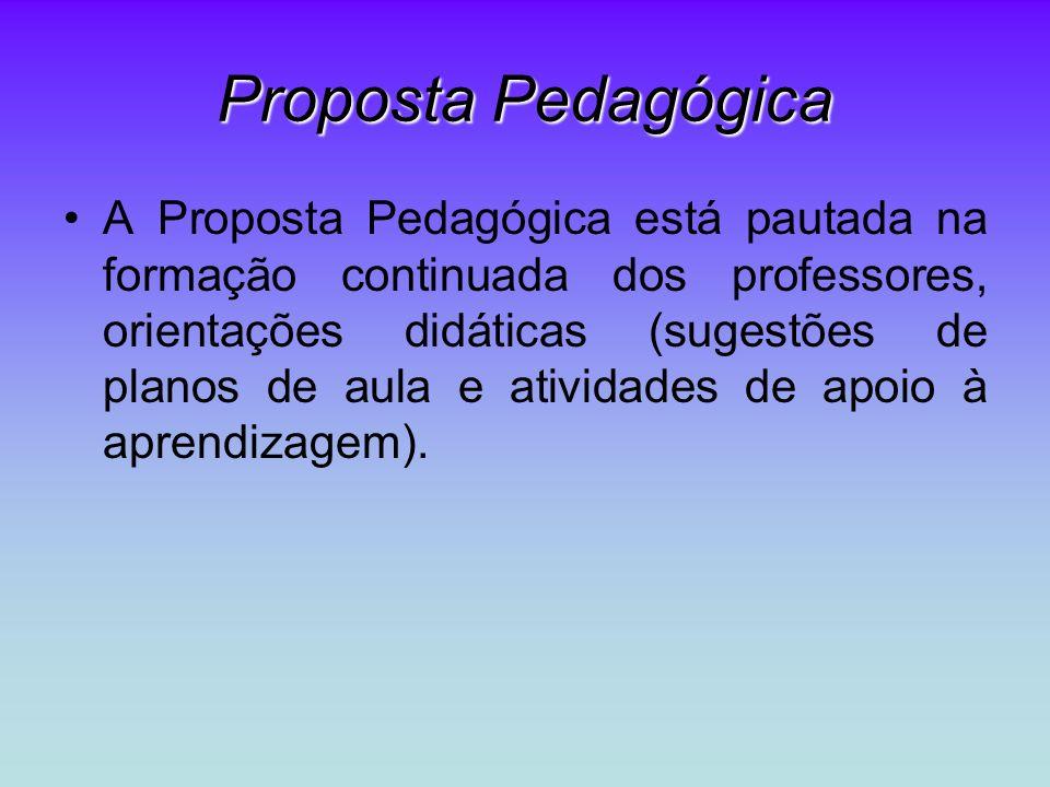 Proposta Pedagógica A Proposta Pedagógica está pautada na formação continuada dos professores, orientações didáticas (sugestões de planos de aula e atividades de apoio à aprendizagem).