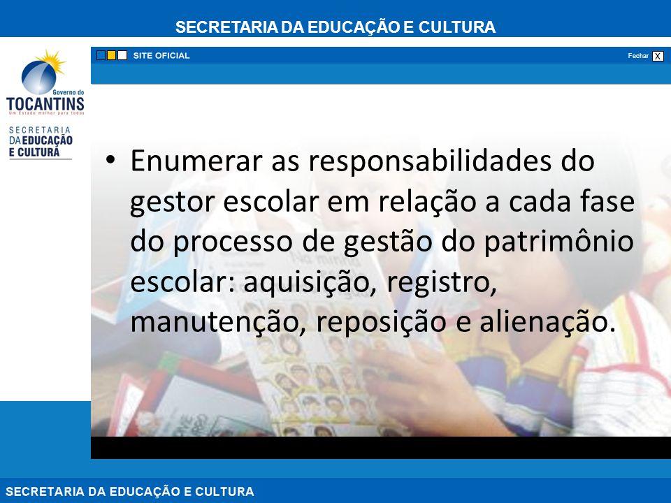 SECRETARIA DA EDUCAÇÃO E CULTURA x Fechar Enumerar as responsabilidades do gestor escolar em relação a cada fase do processo de gestão do patrimônio e