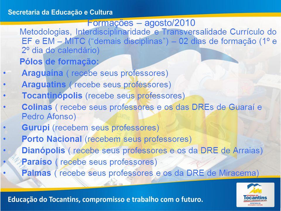Formações – agosto/2010 Metodologias, Interdisciplinaridade e Transversalidade Currículo do EF e EM – MITC (demais disciplinas) – 02 dias de formação