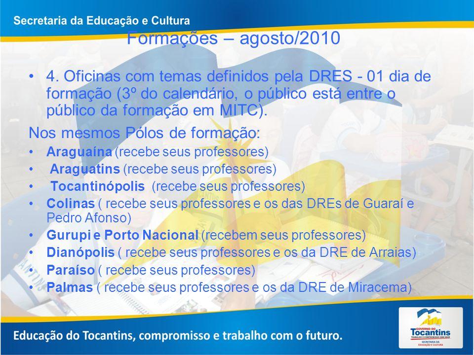 Formações – agosto/2010 4. Oficinas com temas definidos pela DRES - 01 dia de formação (3º do calendário, o público está entre o público da formação e