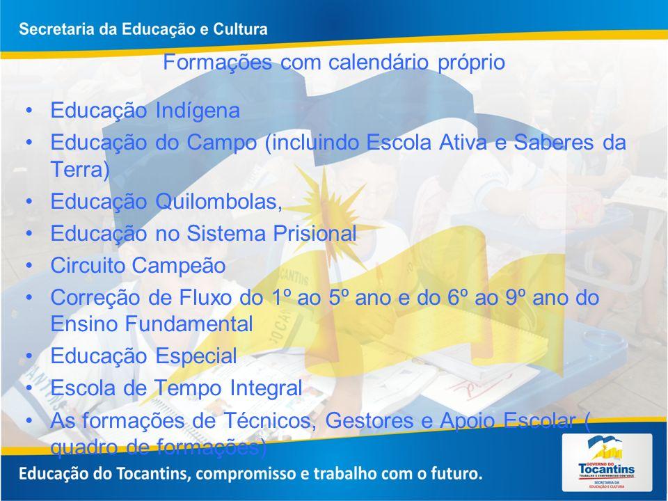 Formações com calendário próprio Educação Indígena Educação do Campo (incluindo Escola Ativa e Saberes da Terra) Educação Quilombolas, Educação no Sis