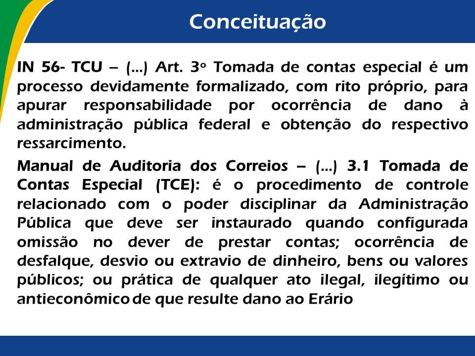 Conceituação IN 56- TCU – (...) Art. 3º Tomada de contas especial é um processo devidamente formalizado, com rito próprio, para apurar responsabilidad
