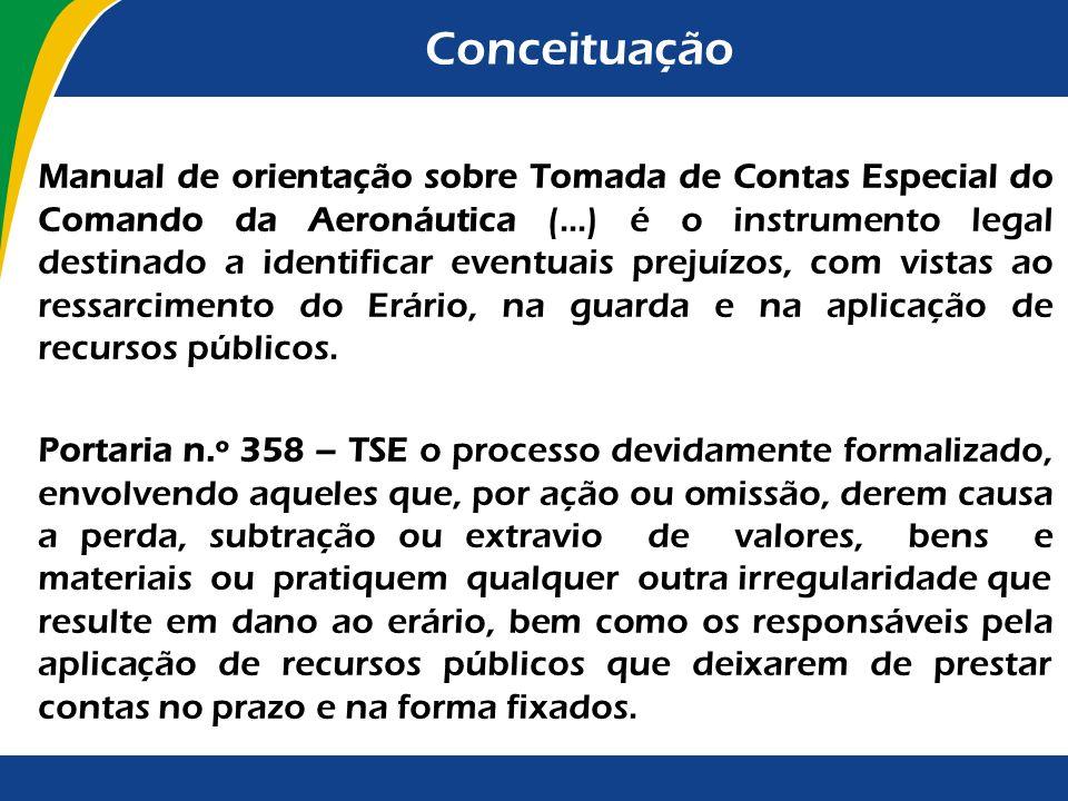 Conceituação Manual de orientação sobre Tomada de Contas Especial do Comando da Aeronáutica (...) é o instrumento legal destinado a identificar eventu