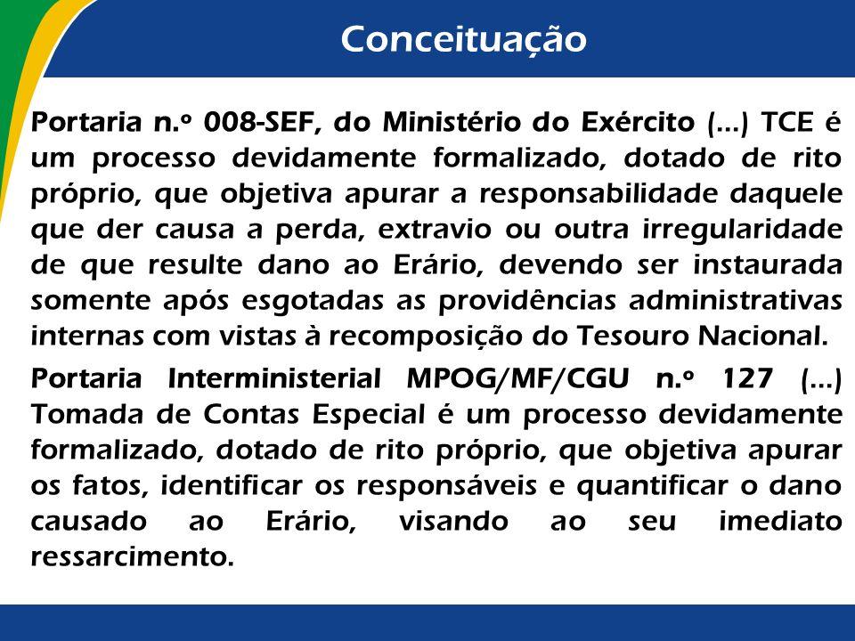 Conceituação Portaria n.º 008-SEF, do Ministério do Exército (...) TCE é um processo devidamente formalizado, dotado de rito próprio, que objetiva apu