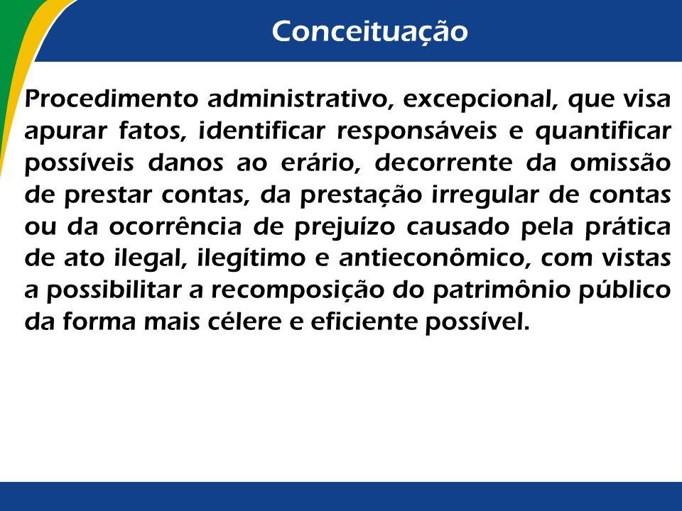 Conceituação Procedimento administrativo, excepcional, que visa apurar fatos, identificar responsáveis e quantificar possíveis danos ao erário, decorr