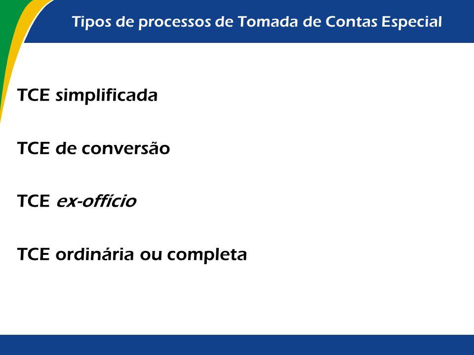 Tipos de processos de Tomada de Contas Especial TCE simplificada TCE de conversão TCE ex-offício TCE ordinária ou completa