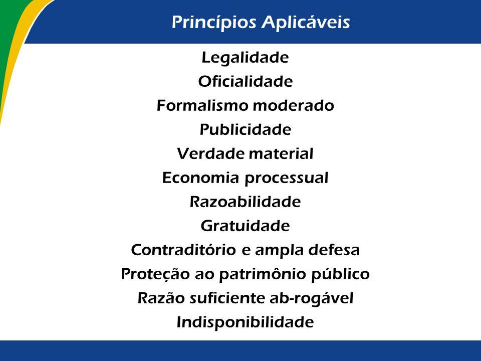 Princípios Aplicáveis Legalidade Oficialidade Formalismo moderado Publicidade Verdade material Economia processual Razoabilidade Gratuidade Contraditó