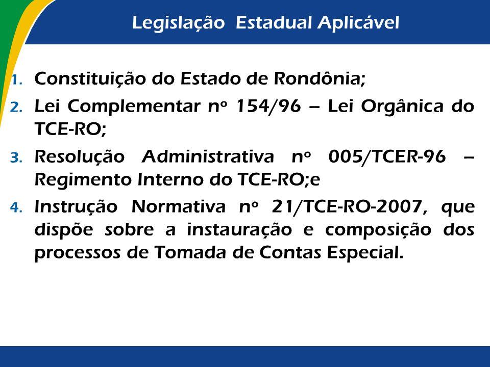 Legislação Estadual Aplicável 1. Constituição do Estado de Rondônia; 2. Lei Complementar nº 154/96 – Lei Orgânica do TCE-RO; 3. Resolução Administrati