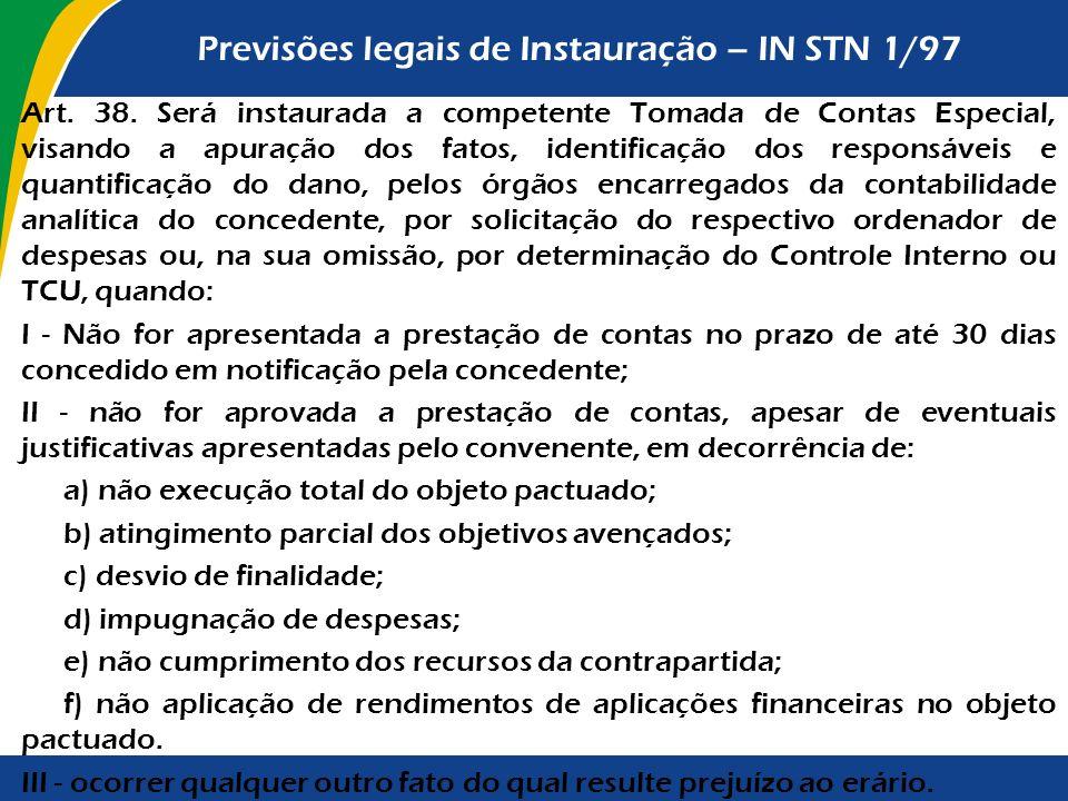 Previsões legais de Instauração – IN STN 1/97 Art. 38. Será instaurada a competente Tomada de Contas Especial, visando a apuração dos fatos, identific