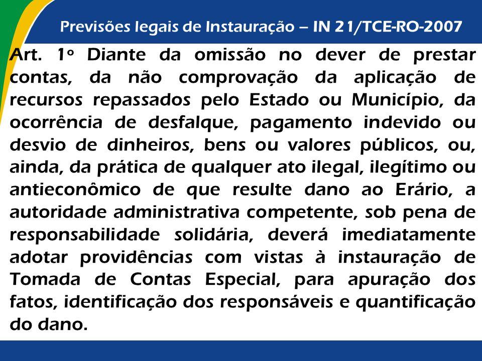 Previsões legais de Instauração – IN 21/TCE-RO-2007 Art. 1º Diante da omissão no dever de prestar contas, da não comprovação da aplicação de recursos