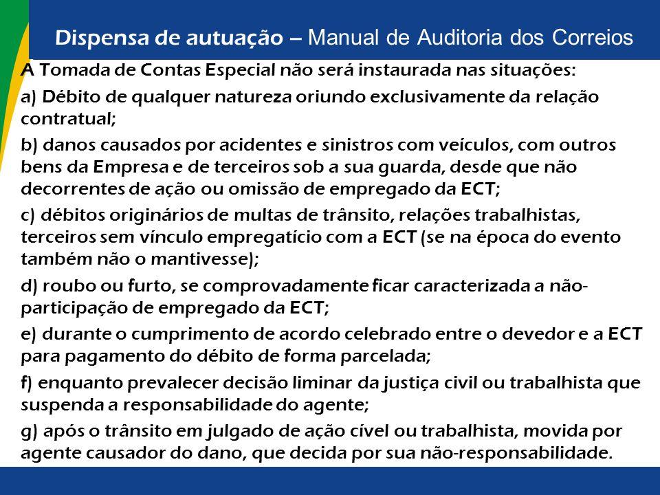 Dispensa de autuação – Manual de Auditoria dos Correios A Tomada de Contas Especial não será instaurada nas situações: a) Débito de qualquer natureza