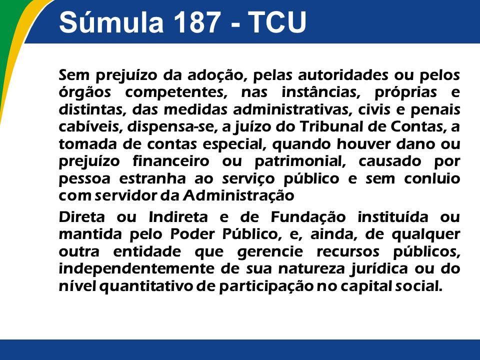 Súmula 187 - TCU Sem prejuízo da adoção, pelas autoridades ou pelos órgãos competentes, nas instâncias, próprias e distintas, das medidas administrati