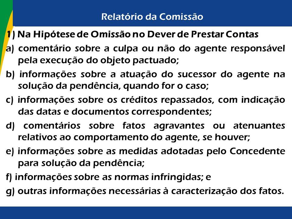 Relatório da Comissão 1) Na Hipótese de Omissão no Dever de Prestar Contas a) comentário sobre a culpa ou não do agente responsável pela execução do o