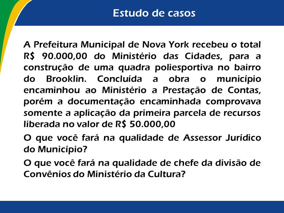 Estudo de casos A Prefeitura Municipal de Nova York recebeu o total R$ 90.000,00 do Ministério das Cidades, para a construção de uma quadra poliesport