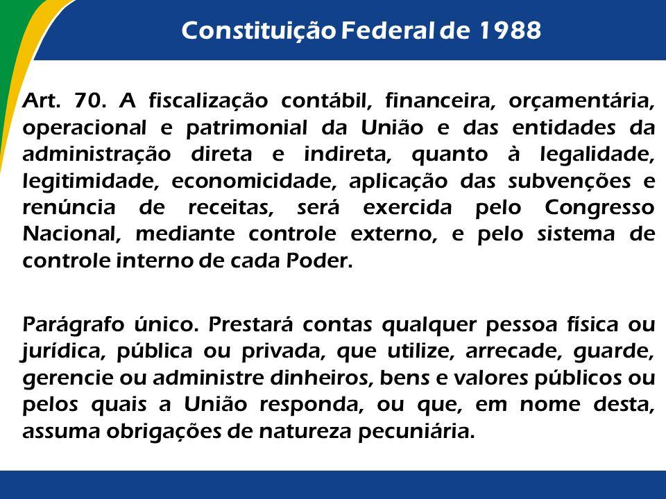 Constituição Federal de 1988 Art. 70. A fiscalização contábil, financeira, orçamentária, operacional e patrimonial da União e das entidades da adminis