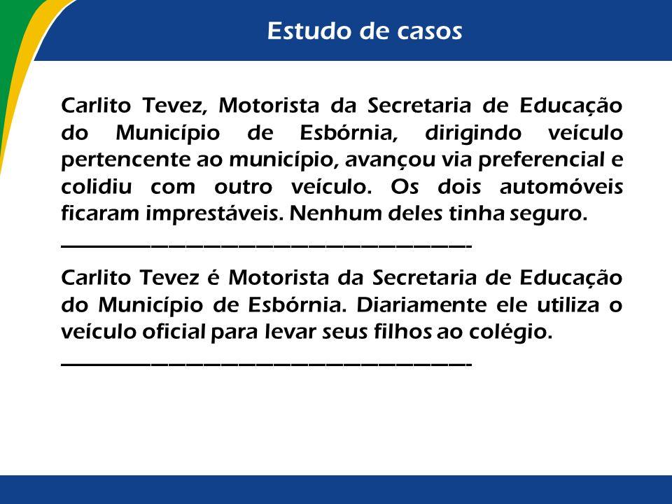 Estudo de casos Carlito Tevez, Motorista da Secretaria de Educação do Município de Esbórnia, dirigindo veículo pertencente ao município, avançou via p