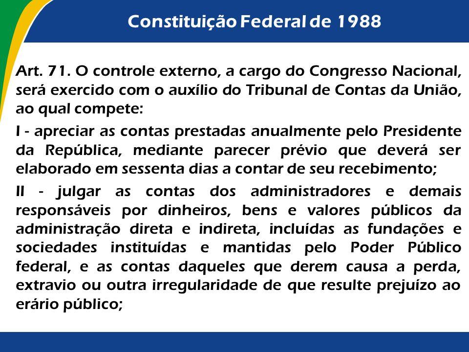 Constituição Federal de 1988 Art. 71. O controle externo, a cargo do Congresso Nacional, será exercido com o auxílio do Tribunal de Contas da União, a