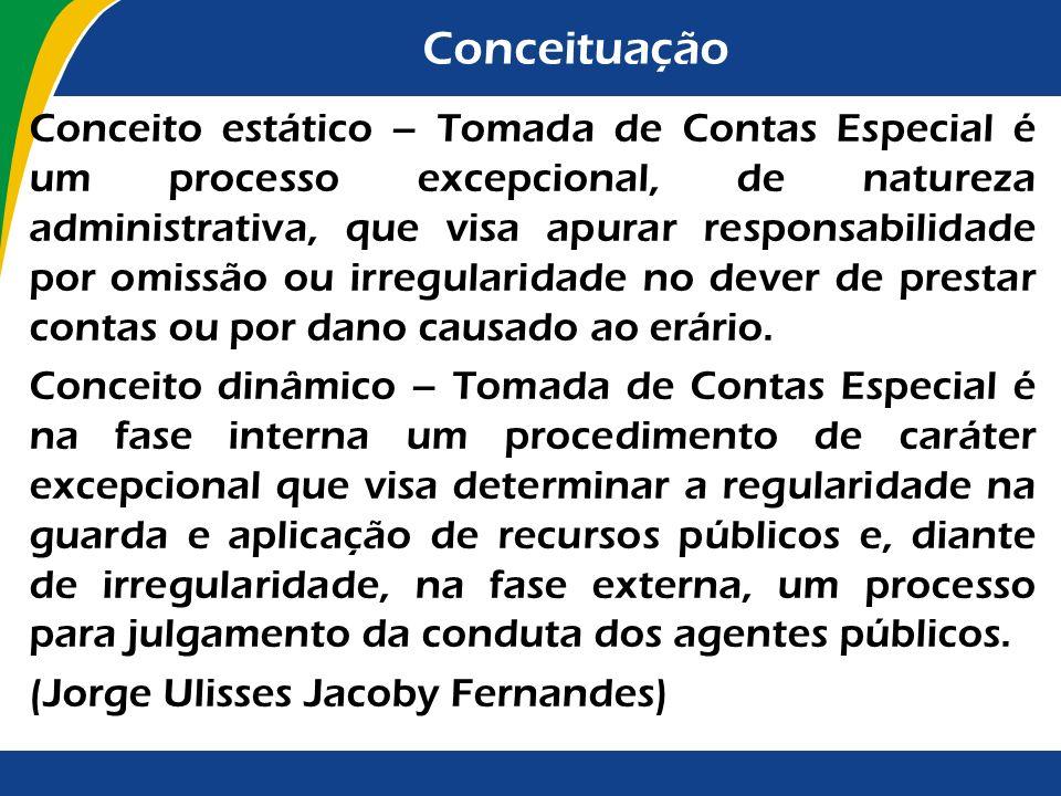 Conceituação Conceito estático – Tomada de Contas Especial é um processo excepcional, de natureza administrativa, que visa apurar responsabilidade por