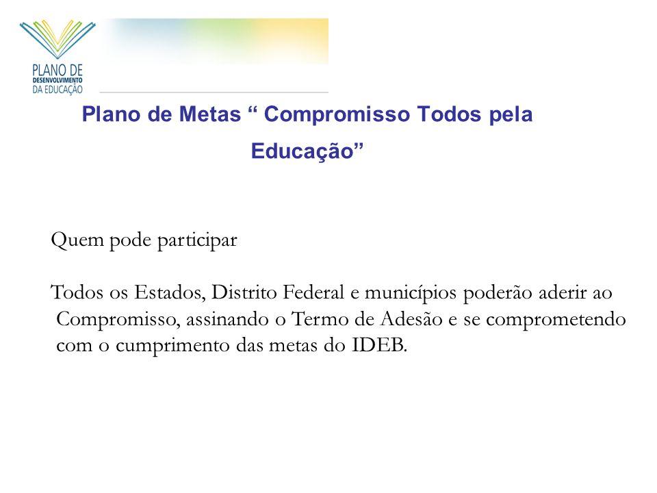 Plano de Metas Compromisso Todos pela Educação Quem pode participar Todos os Estados, Distrito Federal e municípios poderão aderir ao Compromisso, assinando o Termo de Adesão e se comprometendo com o cumprimento das metas do IDEB.