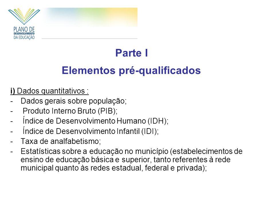 Parte I Elementos pré-qualificados i) Dados quantitativos : -Dados gerais sobre população; - Produto Interno Bruto (PIB); - Índice de Desenvolvimento Humano (IDH); - Índice de Desenvolvimento Infantil (IDI); -Taxa de analfabetismo; -Estatísticas sobre a educação no município (estabelecimentos de ensino de educação básica e superior, tanto referentes à rede municipal quanto às redes estadual, federal e privada);