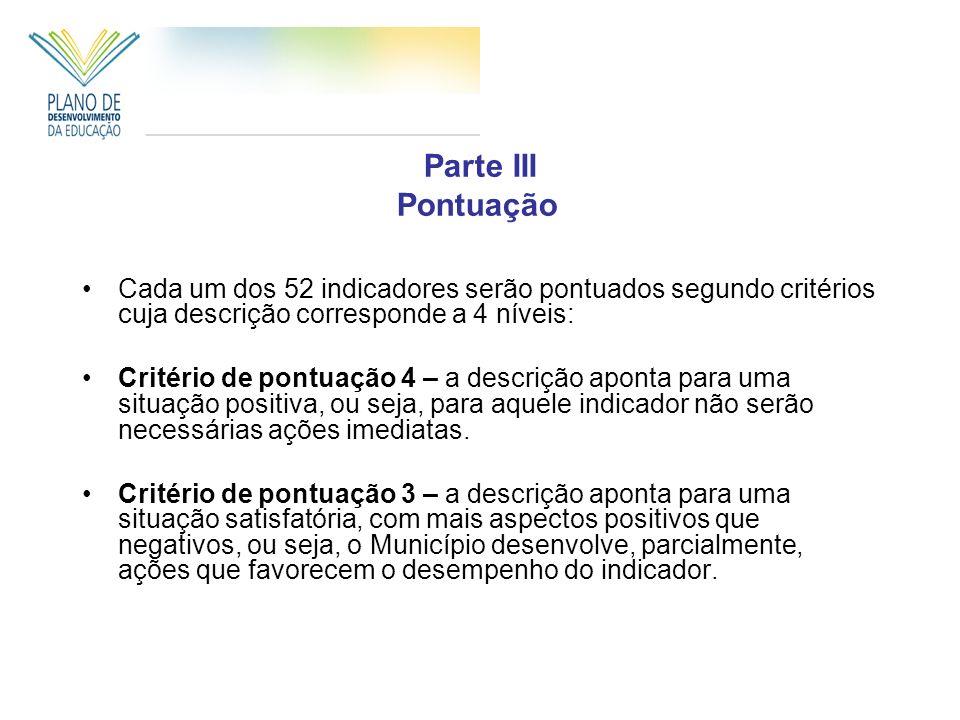 Cada um dos 52 indicadores serão pontuados segundo critérios cuja descrição corresponde a 4 níveis: Critério de pontuação 4 – a descrição aponta para