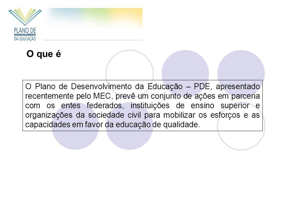 O Plano de Desenvolvimento da Educação – PDE, apresentado recentemente pelo MEC, prevê um conjunto de ações em parceria com os entes federados, instit