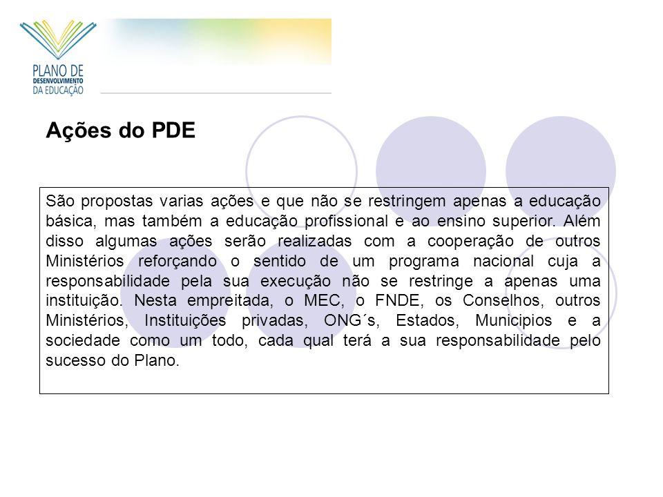 Ações do PDE São propostas varias ações e que não se restringem apenas a educação básica, mas também a educação profissional e ao ensino superior.